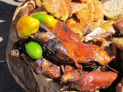 A gourmet Peruvian feast; chilli stuffed guinea pigs!