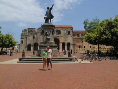 The main square in the colonial district of Santo Domingo. A statue of Christopher Columbus stands proudly in the center.