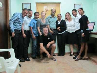 """Ben and Chelle with the """"audiometria"""" gang. They farewelled us with a prayer for a happy marriage and many babies!!"""