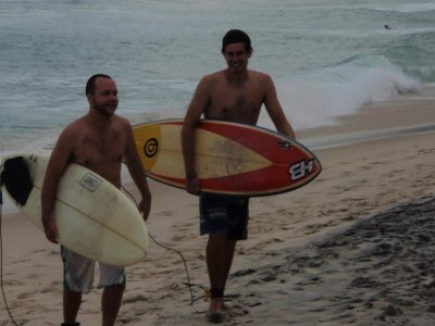 The boys surfing at Ipanema Beach