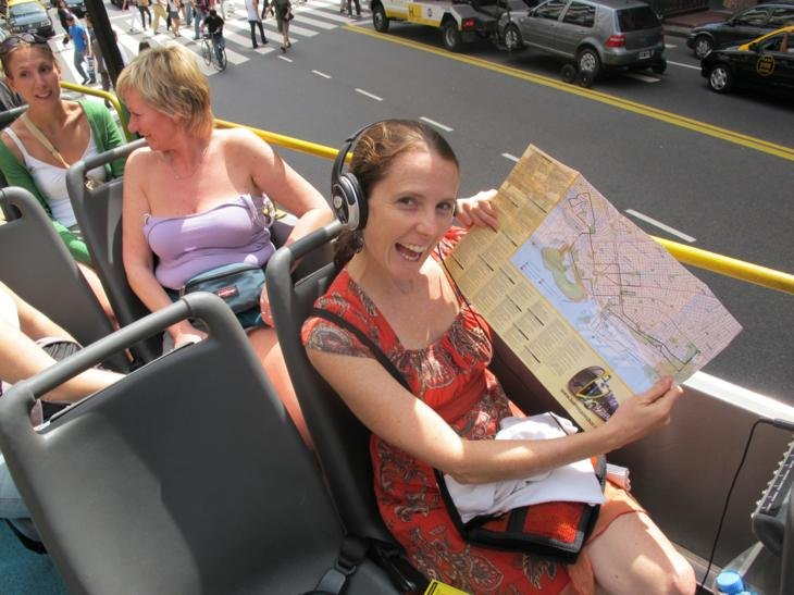 Look - a tourist map on a tourist bus!