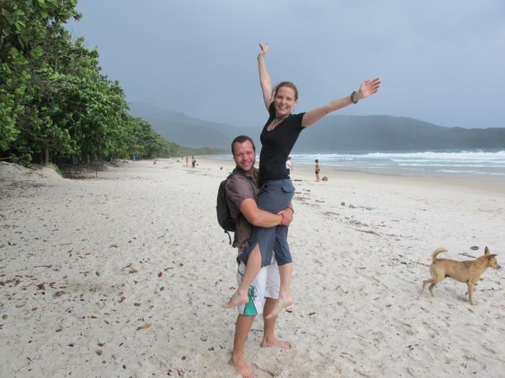 Tropical beach in a tropical storm on Ilha Grande