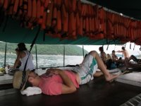 Having a hard day on the water!