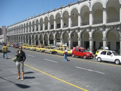 Arequipa main square - colonial buildings and thousands of taxis