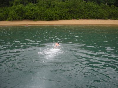 Me swimming into the little beach