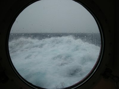The view from our porthole- rough