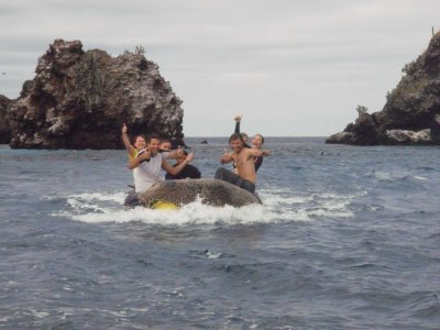 Devils Crown - excited after great snorkelling