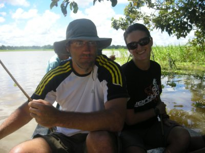 Having fun piranha fishing