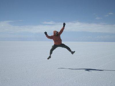 Jumping for joy... Salar de Uyuni