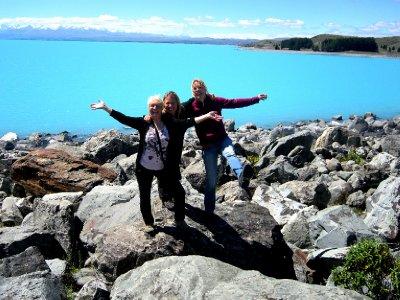 Lake Pukaki, me, Suze and Sylvia