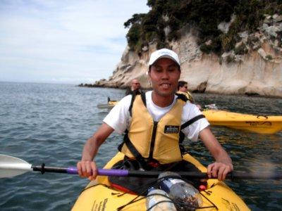 Abel Tasman kayaking, Bernie my kayak partner