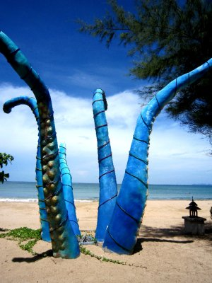 Sculpture next to my bungalow on beach