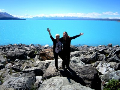 Lake Pukaki, me and Suze