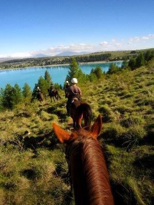 Horseback riding around Lake Tekapo