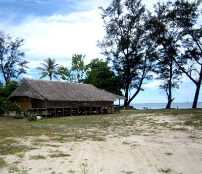 Abandoned longhouse on the beach