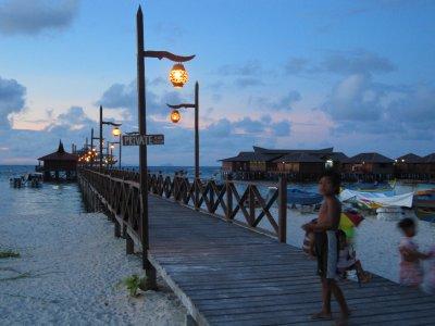 Scuba junkies jetty at sunset