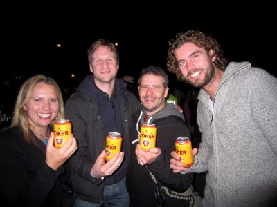 Relieved to get our first beer after the Shakira concert.