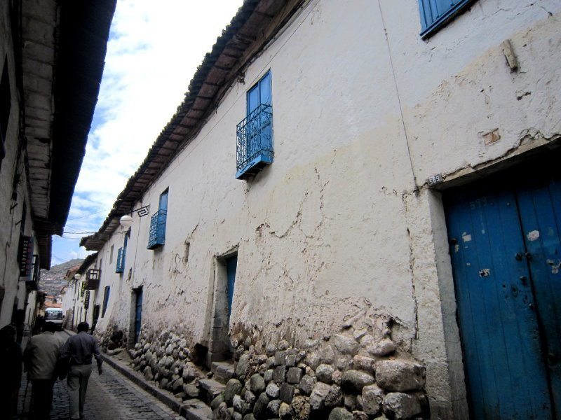 Typical Spanish colonial house built on top of Incan foundations