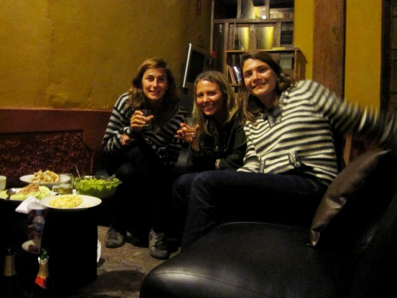 christmas Eve drinks in our alpaca jumpers! These French girls totally drank me under the table!