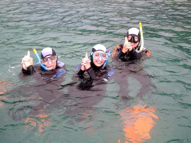 Snorkelling with team America