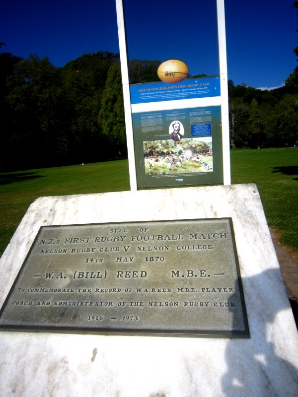 The first rugby match in NZ was played on this field in Nelson in 1870