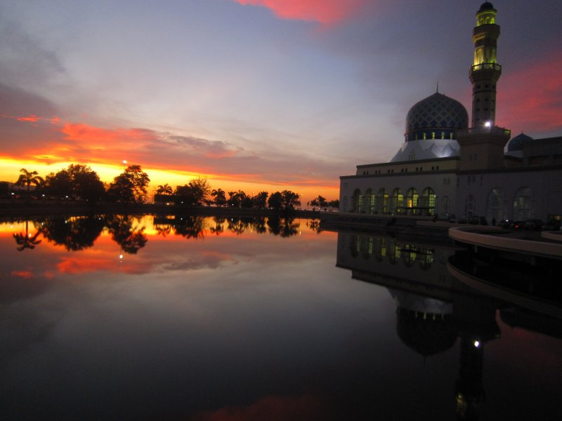 The floating mosque at sunset