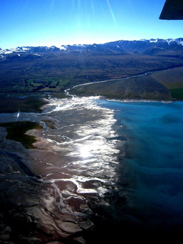 Braided glacial river going into Lake Tekapo