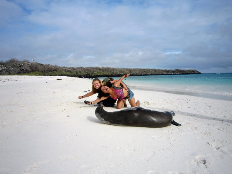Me, Ling, with a special friend, Espanola island