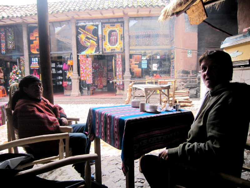 Cappuccinos with Jose and molly in Pisac