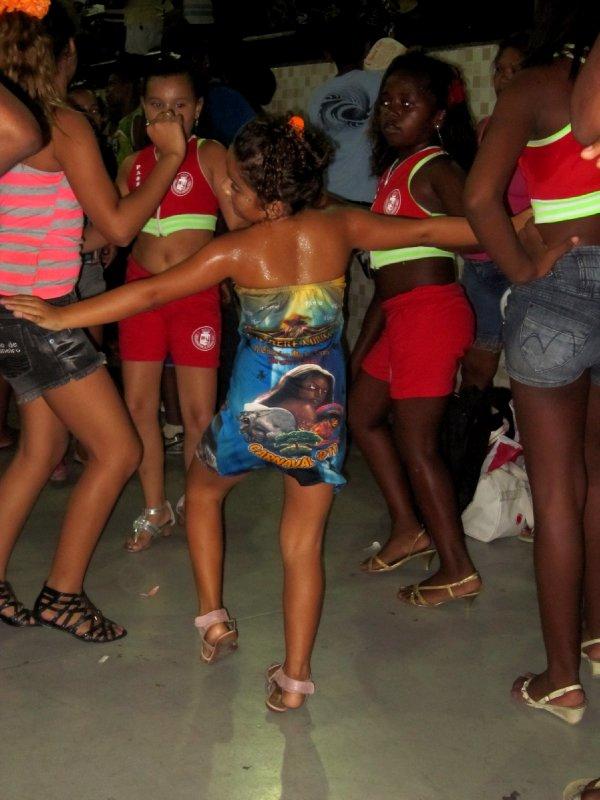 Samba school carnival practise, in a random warehouse somewhere in Rio!
