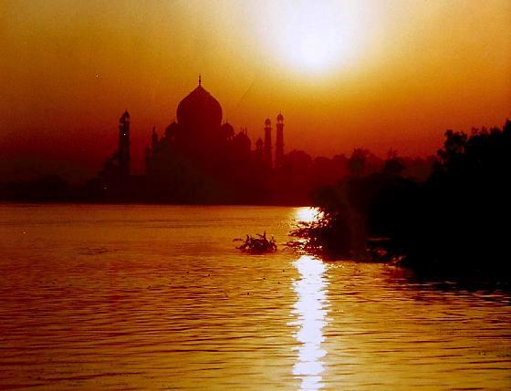 Taj Mahal at sunset, View from Agra Fort