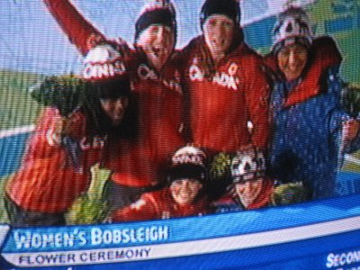 Olympic TV - the Canadian and US women win medals in bobsled.