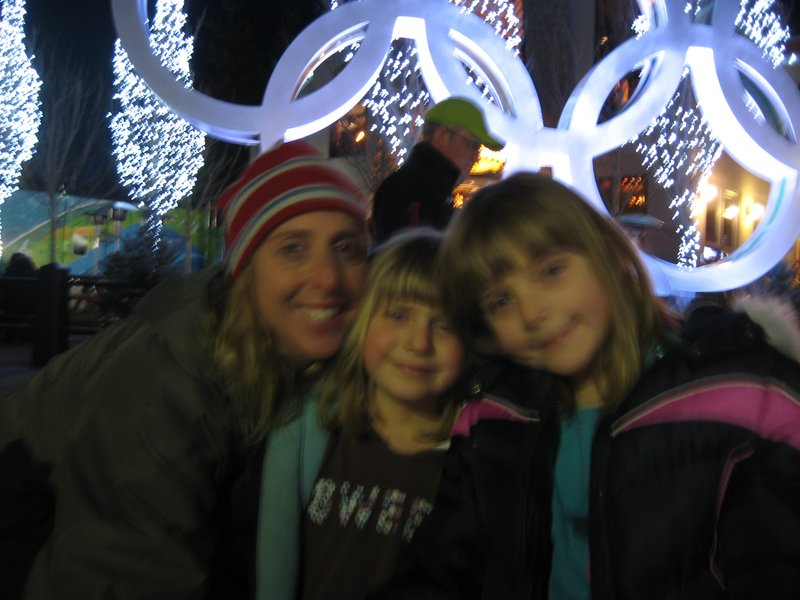 Nan and the girls at the Olympic rings