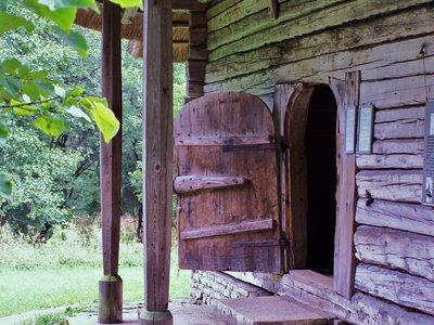 wooden door, hanging