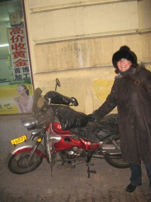 Bike with huge gloves included