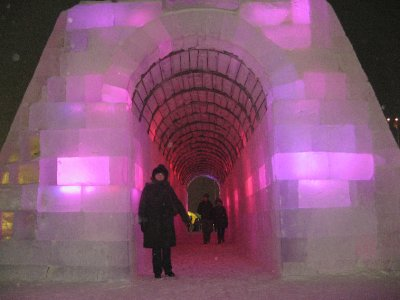 Mom in an ice tunnel