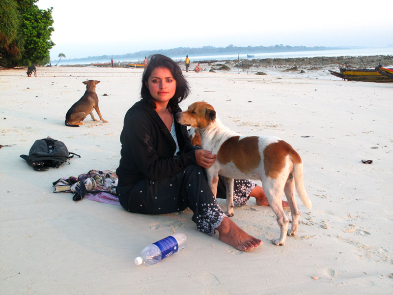 me and dogs, beach 3, Havelock Island, Andamans
