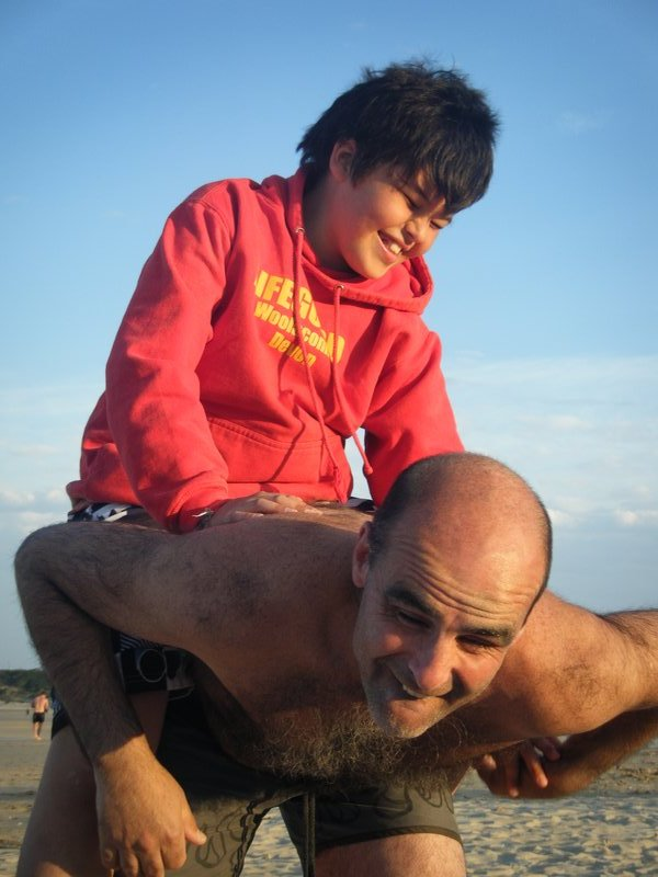 Tom and Jonathan wrestling in jefferies bay