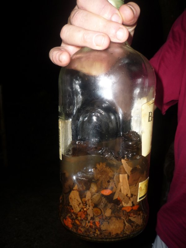 local Bunaken whiskey filled into a 2nd-hand Bacardi bottle   --> 1 sip was enough for a major hangover!