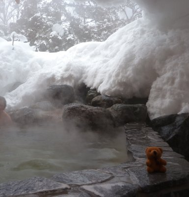 The onsen really refreshes after a hard day in the snow