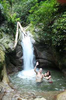 Ruth and Federico enjoying a swim under one of the waterfalls