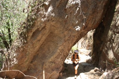 Natural tunnel when trekking in Pueblo Mancomunados