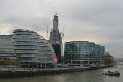 City Hall and the Shard under construction