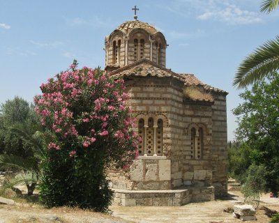 Byzantine era Church of the Holy Apostles in ruins of Roman Agora - oldest in Athens from around 1000 AD