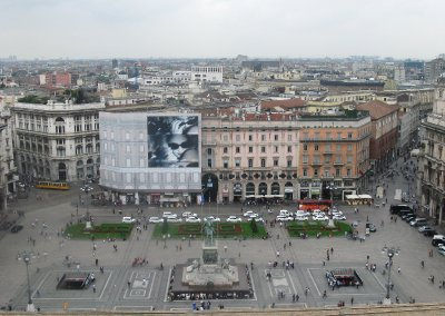 Piazza Duomo - Madonna billboard opposite the cathedral