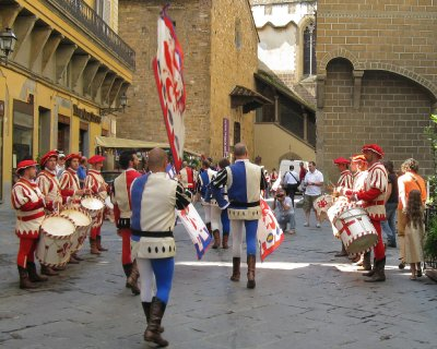 Flag-throwing in feast day parade