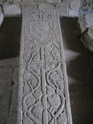 Welsh Prince's heraldic slab in the abbey ruins