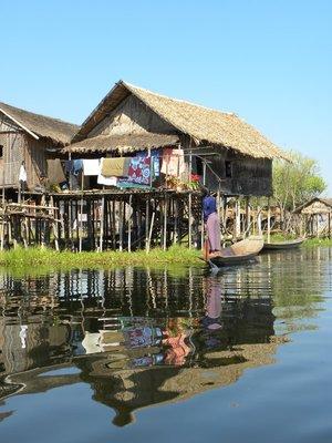 Drijven dorpje Nampan bij Inle meer