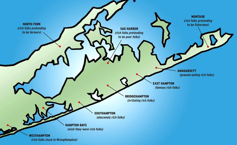 Map Nyc Showing Long Island And Hamptons