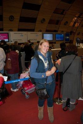 Sarah enjoying our first queue